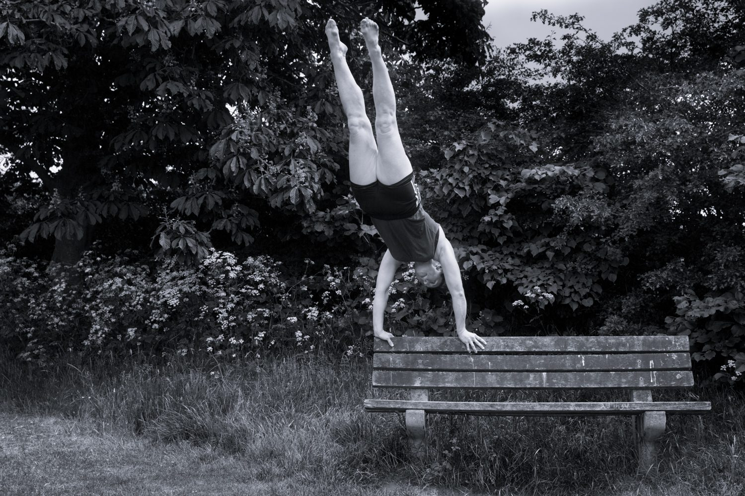 Dance Contemporary dance bench b&w black and white park