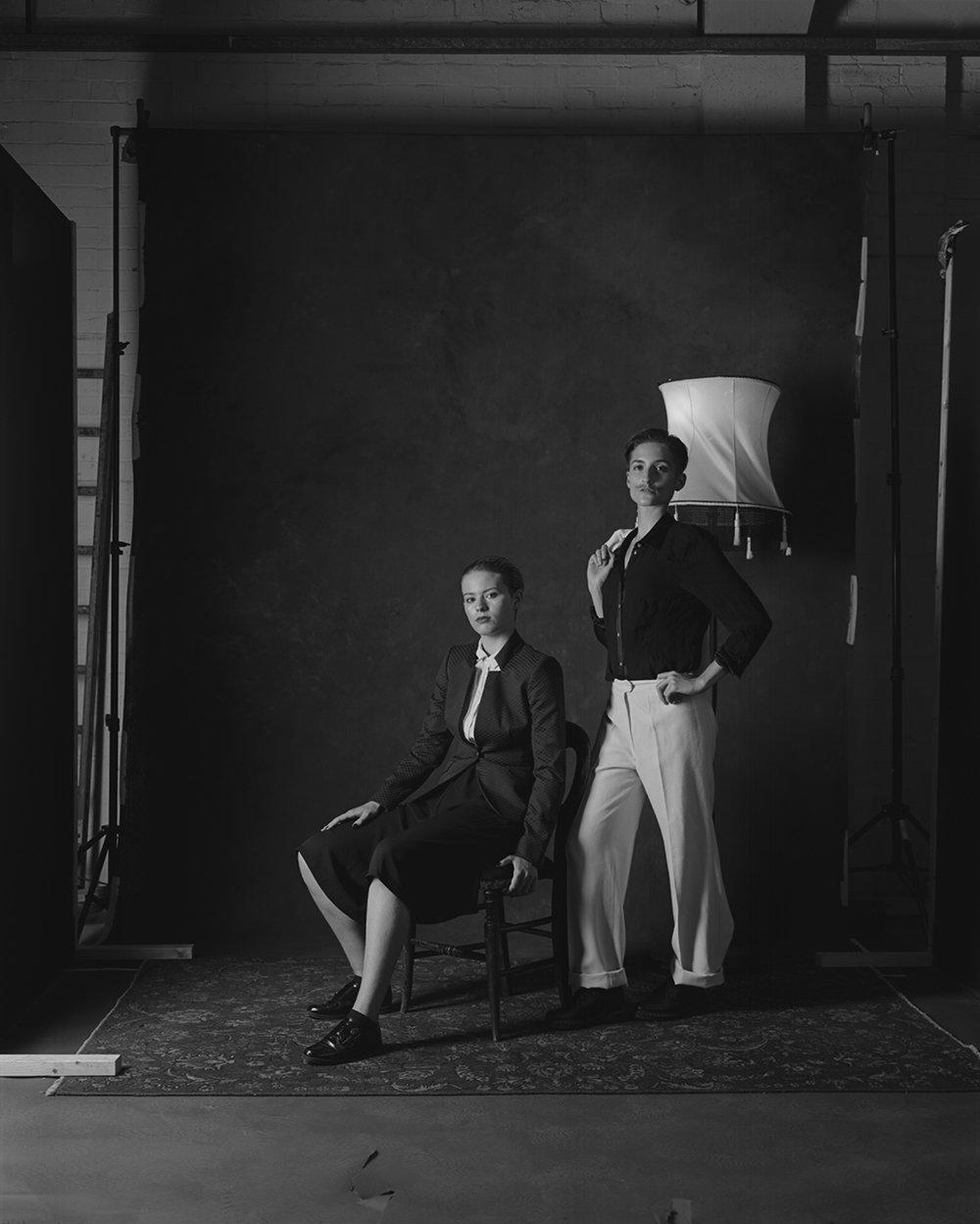 Danni Spooner sitting & Carise ZM standing large format portrait